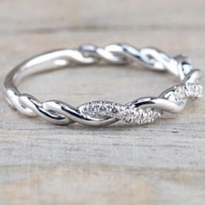 Sterling Silver Twisted Stacking Ring w/ Diamonds
